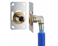 FIXSYSTEM simple : kit complet de fixation d'un robinet mural simple M1/2' (15x21). Coude d'alimentation à sertir profil TH sur tube PER - Ø 122 mm, sortie femelle 1/2' (15x21) - 3327-12PL1