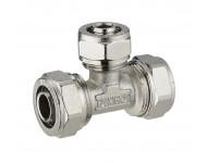 Té réduit à compression pour tube multicouche - Ø 20 mm piquage au centre tube multicouche - Ø 16 mm. Bague à sertir en inox.  - 3985-201620L1