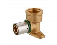 Coude applique à sertir profil TH pour tube PER - Ø 16 mm à visser femelle F1/2' (15x21). 2 trous pour fixation au mur. Bague à sertir en inox.  - 3791-1516L1