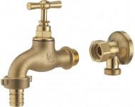 Kit robinet de puisage M1/2' (15x21) nez NOYON & THIEBAULT - Ø 15 mm + applique laiton brut M1/2' (15x21) femelle écrou libre F1/2' (15x21) - 803787