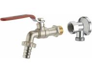 Kit robinet à sphère 1/4 tour M1/2' (15x21) nez NOYON & THIEBAULT - Ø 15 mm + applique laiton chromé M1/2' (15x21) femelle écrou libre F1/2' (15x21) - 803789