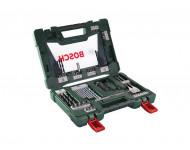Coffret V-Line 68 pièces BOSCH pour perçage et vissage avec cutter, tige magnétique et renvoi d'angle - 2607017191