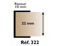 "Profil chant ""U"" 322 PRUNIER - 22 mm x 2.60 m - blanc - RIBP322"