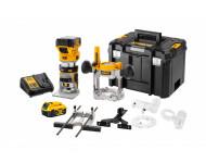 Affleureuse-défonceuse XR 18V 2 x 5Ah Li-ion DEWALT - pince 6-8 mm - en coffret Tsatak avec 2  batteries 18V + chargeur + accessoires - DCW604P2-QW