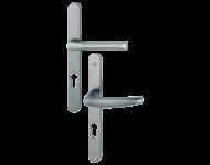 Ensemble de porte plaque étroite Atlanta HOPPE - SRR aspect inox F9 - clé i - 113KH/300LMSGL/1530 - ép.68/77 - 3304481