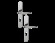 Ensemble de porte plaque large Atlanta HOPPE 1530/300M aspect inox F9 - 195mm - Clé i - entr.7/70 C7 ép.78/87mm - 3609170