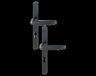 Ensemble de porte-fenêtre plaque étroite Atlanta 1530/300LMSGL HOPPE 195mm Noir 9714 Clé i Entr.92 C.8 - ép.68/77 - 3401168