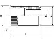 Boite de 50 écrous crantés ACTON à sertir - Tête affleurante Inox A2 - 62633
