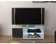 Meuble TV 100 cm avec LED Gris brillant LYNCO
