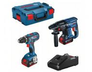 Lot BOSCH Perceuse GSR 18V-28 + Perforateur GBH 18V-21 + 2 batteries 18V 4.0Ah +chargeur + coffret - 0615990M0R