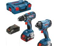 Kit BOSCH Perceuse-visseuse GSR 18V-28 + Visseuse à chocs GDR 18V-160 + 2 batteries 4.0Ah - L 06019G5107