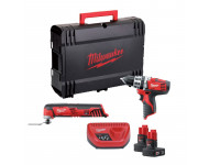 LOT MILWAUKEE 12V : Perceuse Visseuse C12PD/0 + Multitool C12MT + 2 Batteries 3Ah - 4933427181