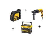 KIT 2 Outils DEWALT : Perforateur 650W  D25013K + Laser en croix DW088K + Coffret T-Box2 -  D25013KXT