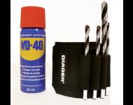 Coffret 5 forets plaquette +bombe wd-40 special metaux durs d.5-5-6-6-8