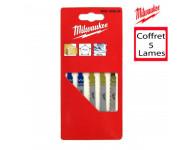 Carte de 5 lames de scies MILWAUKEE Spécial métal/bois/PVC - 4932345825