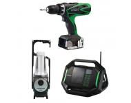 Lot Perceuse + Radio + Lampe -2 batteries 18V 3Ah Hitachi/Hikoki