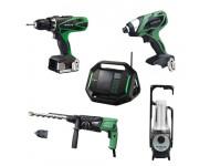 Lot Perceuse + 4 outils -2 batteries 18V 3Ah Hitachi/Hikoki