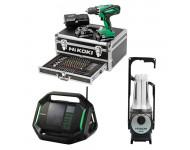 Lot Perceuse + Radio + Lampe -2 batteries 18V 2,5Ah Hitachi/Hikoki