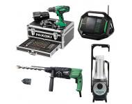 Lot Perceuse + Perfo + Radio + Lampe -2 batteries 18V 2,5Ah Hitachi/Hikoki