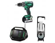 Lot Perceuse + Radio + Lampe -2 batteries 18V 5Ah Hitachi/Hikoki