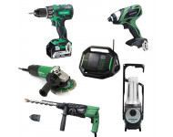Lot Perceuse + 5 outils -2 batteries 18V 5Ah Hitachi/Hikoki