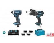 Lot 2 machines MAKITA 18V 4 Batteries 5Ah + Chargeur Double + Perceuse Visseuse DHP458 + Visseuse à Choc DTD152 - LMK10
