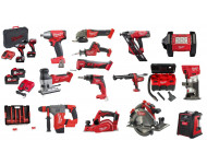 Lot 18V MILWAUKEE 15 machines + radio + projecteur + box 50 accessoires + 4 batteries + 2 chargeurs - LMKE12