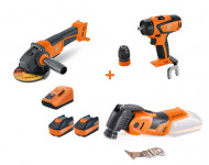 Pack 3 Machines 18V FEIN Perceuse ABS18Q + Perfo ABH 18 + Multimaster AMM 500 plus + 2 batteries 6Ah