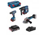 Lot 3 machines 18V Perceuse GSR-28 + Perforateur GBH-21+ Meuleuse GWS-10PC + 3 batteries BOSCH - LBH2