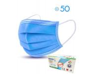 Boîte de 50 masques chirurgicaux de protection 3 plis - bleu