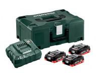Pack énergie 18V METABO - Pack 3 Batteries 18 volts LiHD + Chargeur rapide 3 x 4,0 Ah LiHD, ASC 55, coffret Metaloc - 685133000