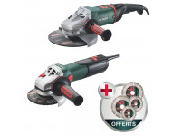 Lot de 2 meuleuses METABO W9-125 Quick Ø125mm 900W + WE24-230 Ø230mm 2400W + 4 disques