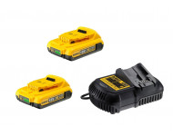Pack de batteries DEWALT 18V 2.0Ah Li-Ion - 2 batteries + Chargeur - DCB115D2