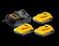 Pack de batteries DEWALT 18V 2.0Ah Li-Ion - 3 batteries + Chargeur -  DCB115D3