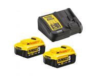 Pack de batteries DEWALT 18V 5.0Ah Li-Ion - 2 batteries + Chargeur - DCB115P2