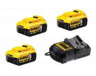Pack de batteries DEWALT 18V 5.0Ah Li-Ion - 3 batteries + Chargeur - DCB115P3