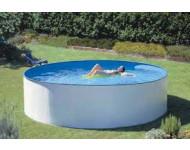 Piscine hors-sol Splasher AQUALUX - acier décor blanc - ronde - avec échelle