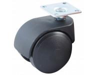 Roulette pivotante à platine rectangulaire AVL - Doubles roues nylon Ø50 - Charge 40kg - 595030A