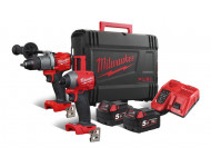 Powerpack M18 Fuel MILWAUKEE Perceuse percussion M18 FPD2 + Visseuse à chocs M18 FID2 + 2 Batteries 5Ah - 4933464268
