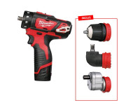 KIT Perceuse Visseuse 12V 2Ah MILWAUKEE 4 en 1 M12 BDDXKIT-202X + 2 Batteries - 4933447129