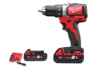 Perceuse visseuse MILWAUKEE M18 BLDD-202C - 18V + 2 batteries 2.0Ah, chargeur - 4933448441
