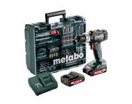 Perceuse à percussion METABO SB 18 L SET - 2 batteries 18V 2.0Ah, chargeur avec set d'accessoires - 602317870