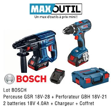 DGA56132 - Lot BOSCH Perceuse GSR 18V-28 + Perforateur GBH 18V-21