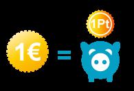 1 euro = 1 point