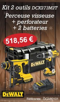 Kit 2 outils DEWALT : une perceuse visseuse + perforateur + 2 batteries - DCK273M2T