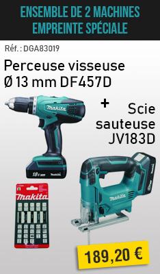Ensemble de 2 machines Empreinte spéciale MAKITA : Perceuse visseuse Ø 13 mm DF457D + Scie sauteuse JV183D