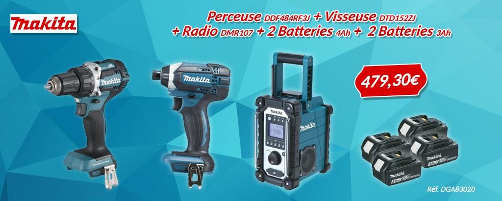 Lot MAKITA Perceuse DDF484RF3J + Visseuse DTD152ZJ + Radio DMR107 + 2 Batterie 4.0Ah + 2 Batterie 3.0Ah - LOT0089