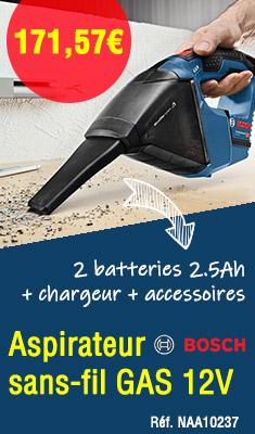Aspirateur sans-fil GAS 12V BOSCH - 2 batteries 2.5Ah + chargeur + accessoires - 06019E3003