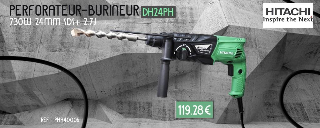 Perforateur-burineur HITACHI 730W 24MM SDS+ 2.7J - DH24PH