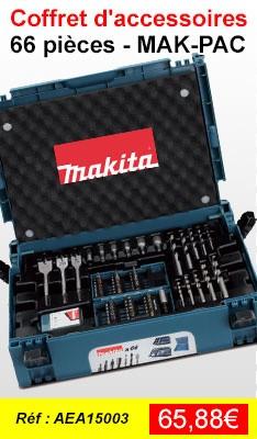 Coffret ensemble d'accessoires MAKITA 66 pièces en coffret MAK-PAC